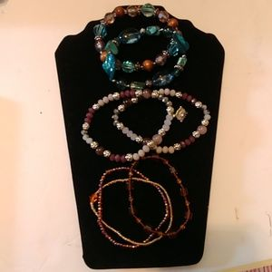 7 Mixed Beaded stretch bracelets